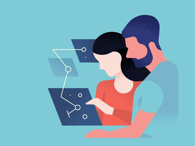 Cyber Expertise Centre. illustration connection abstract minimal character course program intelligence digital screen learning woman man cyber