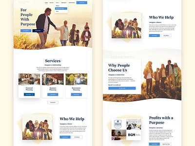 Warm Friendly Financial Home Page faith family friendly warm financial website design ux user interface ui