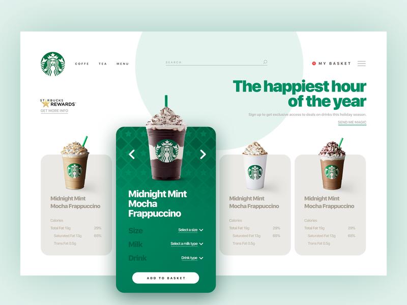 Starbucks website ux webdesign uxdesign userexperience uitrends simplicity minimalism desktop designinspiration creative behance ui interface design clean mocha green sketch coffee starbucks