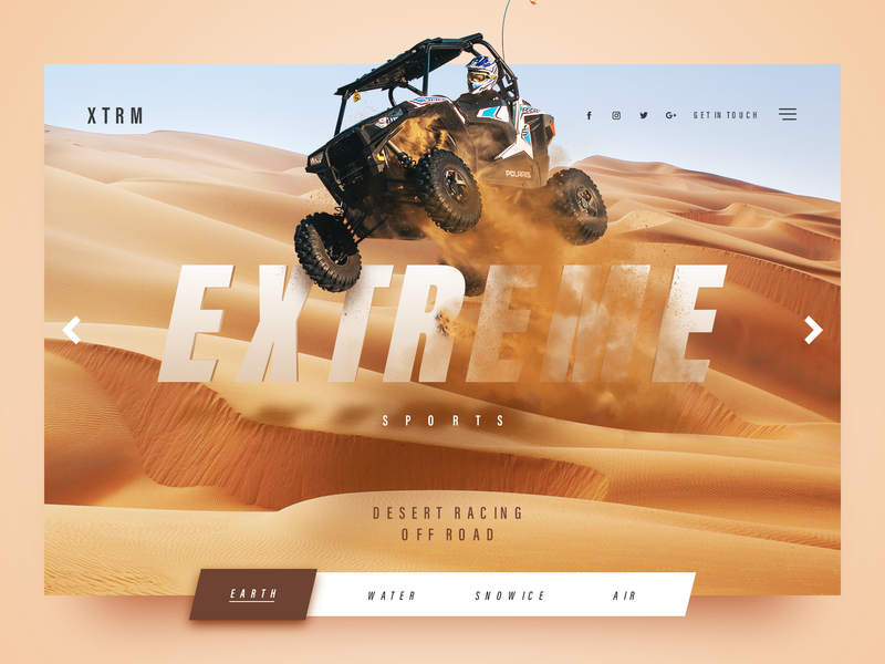 Extreme sports website web ux simplicity uxdesign userexperience uitrends minimalism desktop designinspiration creative behance webdesign interface clean ui design racing extreme sport dessert extreme