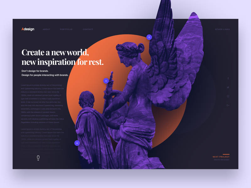 Design agency with statue userinterface agency statue landingpage ux webdesign web design inteface ui