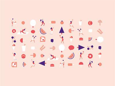 Welcome Week pink vector student summer exercise design illustration