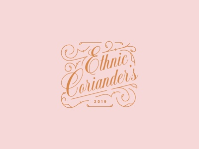 Ethnic Coriander's floral restaurant script swirls logotype orange pink logo