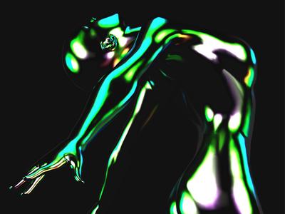 Balletdescent design abstract cinema 4d c4d 3d record cover music iridescent green oil dancer ballet