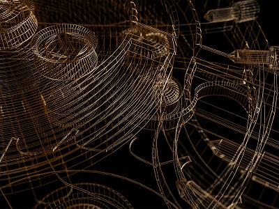 Style frames | C4D | Arnold renderer | 2 wireframes 3drender renderings render arnoldrender mechanism watch metal gold c4d cinema 4d 3d