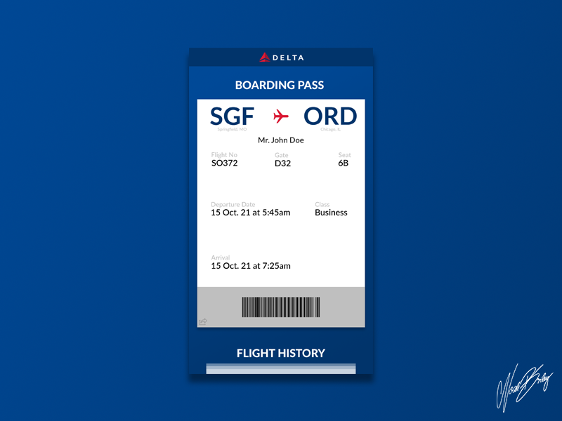 Daily UI 012 | Boarding Pass