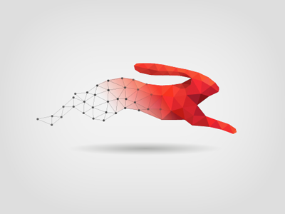 Ignitec red low poly logo identity branding mesh hare