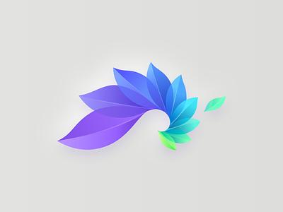 Fraktal nft golden ratio golden spiral leaves green blue colorful mark vector logo