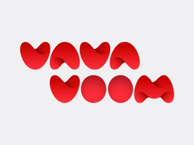 Vavavoom logo wordmark red futuristic typography numbers
