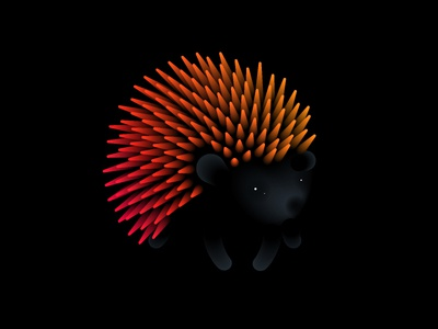 Le Hérisson hedgehog vector blend animal spikes orange