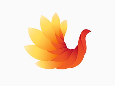 Flowerbird phoenix flower orange bird yellow fire blooming
