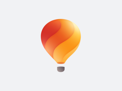 hot-air balloon light bulb mark hot air balloon orange logo