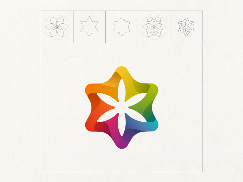 Flower of Life floweroflife design vector spectrum rainbow geometric logo colorful star flower sacredgeometry seedoflife