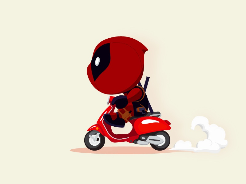 Deadpool on Scooter smoke ride motorcycle bike marvel movie scooter deadpool