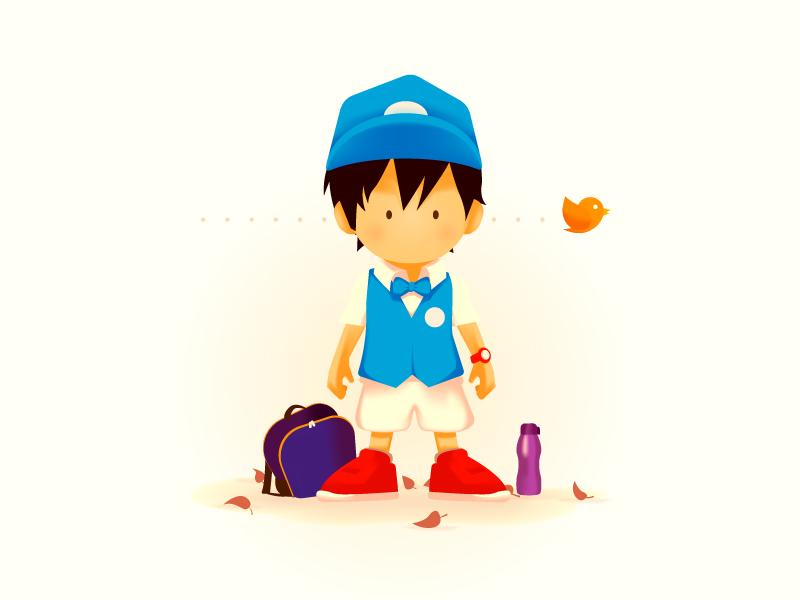 Kintil Goes to School character illustration uniform fall kids school kindergarden kindergarten