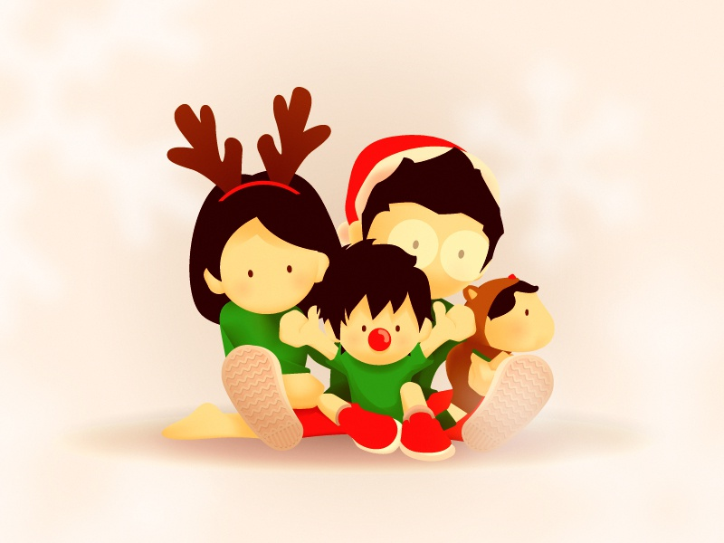 Happy Holiday character holiday family christmas illustration