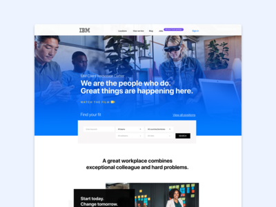 IBM branding employer human resources webdesign website ux ui