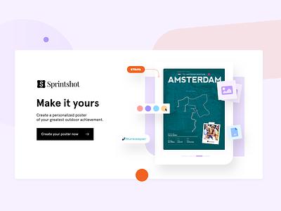 Sprintshot posters strava running landing page webdesign ui ux design header