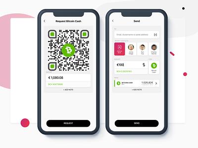 Request & Send Money digital wallet mobile app design app ui ux cryptocurrency crypto wallet branding