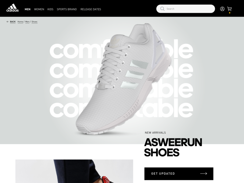 AdIdas ASWEERUN running ecommerce design ecommerce webdesign ux ui exploration design adidas
