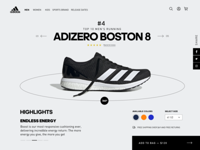TOP 10 Adidas Running Shoes shoes ecommerce adidas running ui ux design webdesign