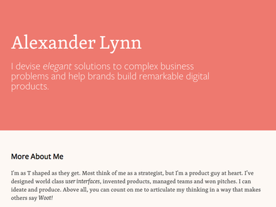 This is me profile resume typography