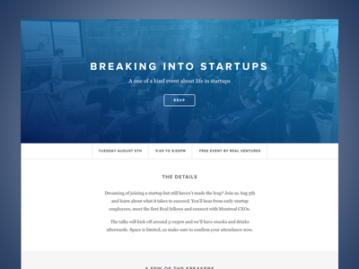 Breaking Into Startups real ventures landing event conference