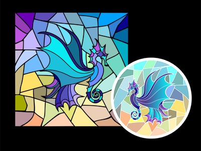 Winged Seahorse stained glass vector seahorse mosaic