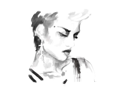 WIP: Rebel Yell new retro wave punk portrait painting wip