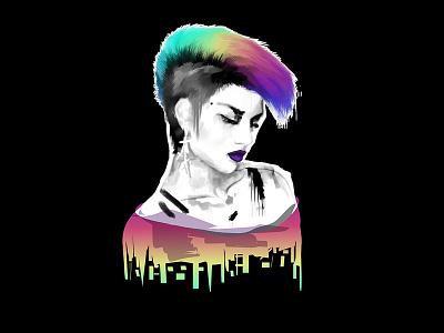 Rebel Yell new retro wave punk vector 80s neon