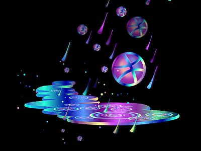 Neon Dribbble Rain hellodribbble debut rain neon