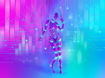 Neon Robotica Full Paint new retro wave robot cyber cyborg circuits neon vector scifi