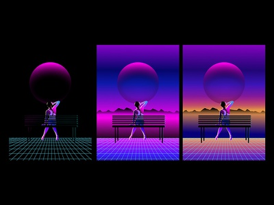 WIP: no title music new retro wave neon 80s moon wip