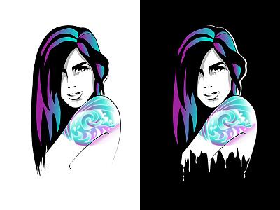 Ink portrait tattoos retro vector