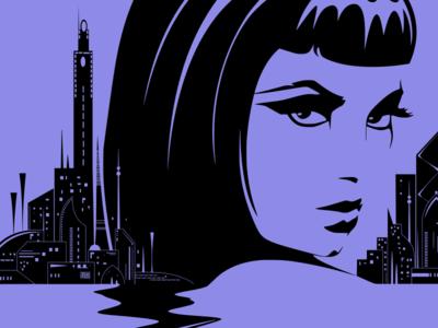 Neon Cleo WIP wip portrait illustration vector ink