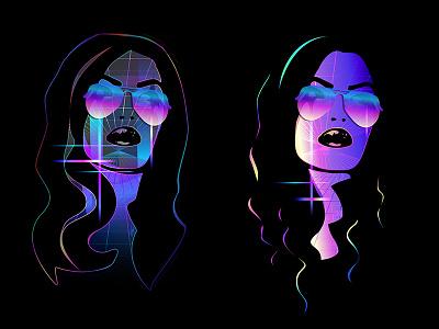 Gridlocked Comparison Black neon illustration vector