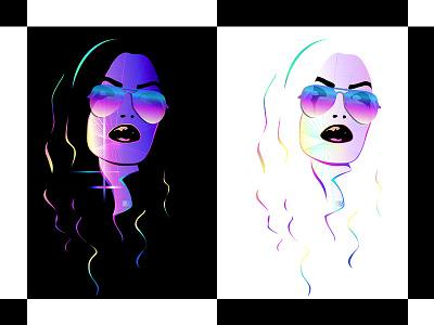 Gridlocked Redo Black Vs White neon illustration portrait vector