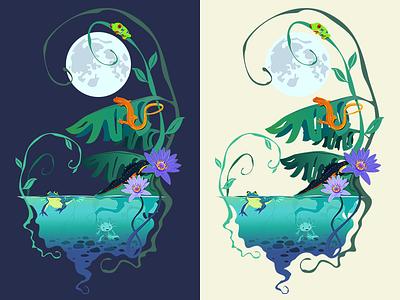 Amphibian Pond pond amphibians illustration vector