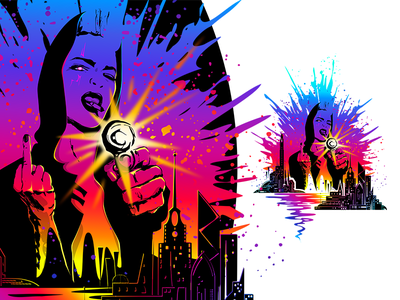 Sunset City cyberpunk illustration 80s new retro wave portrait neon vector