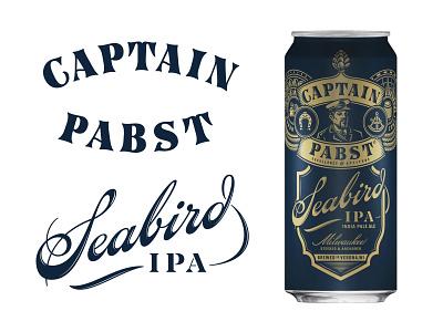 Captain Pabst, Seabird IPA beer hand drawn script packaging branding hand lettering logotype lettering logo type typogaphy