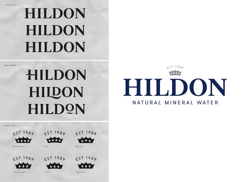 Hildon Water hand lettering sketch custom type bespoke branding logotype lettering logo type typography