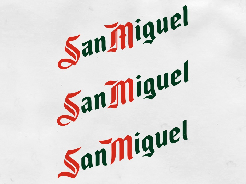 Si…Si…Si…San Miguel beer letters identity font bespoke lettering branding type typography logotype logo
