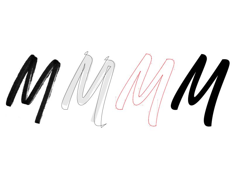 M – Process process script letters identity signature bespoke lettering branding type typography logotype logo