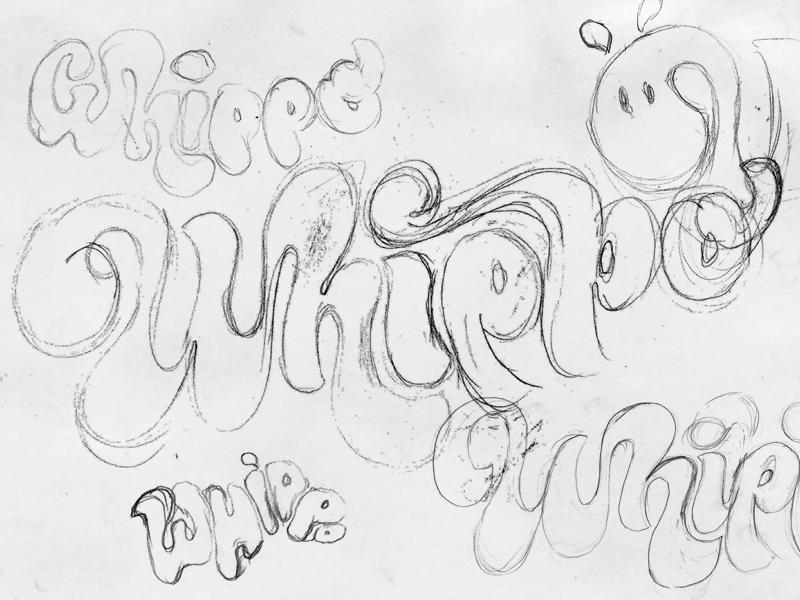 Whippo Scribbles hippo ice-cream identity bespoke typography logotype branding logo sketch type