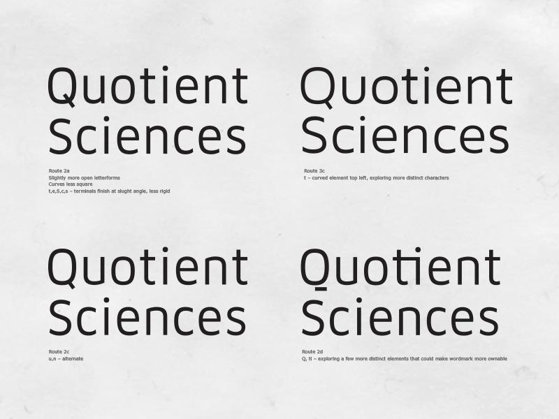 Quotient Sciences – Process bespoke hand drawn identity science typography logotype branding logo type