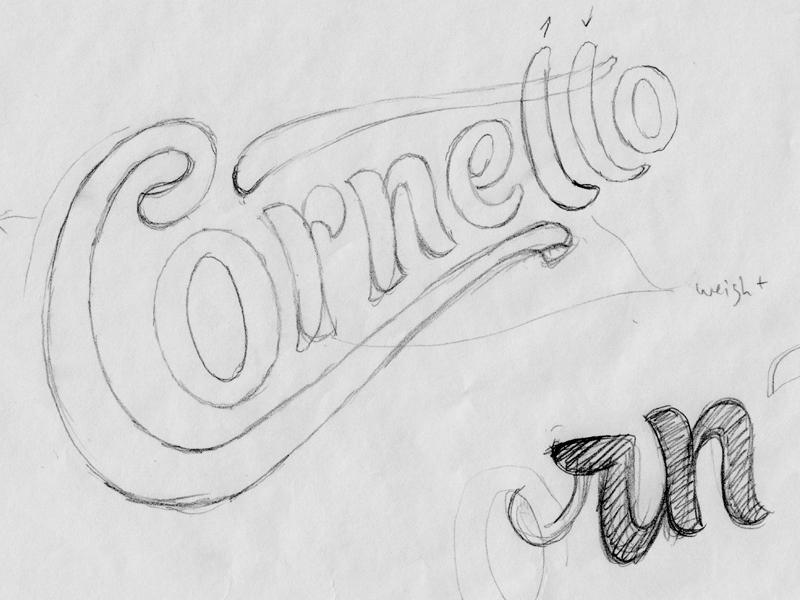 Cornetto sketch lettering ice-cream identity packaging typography logotype branding logo type