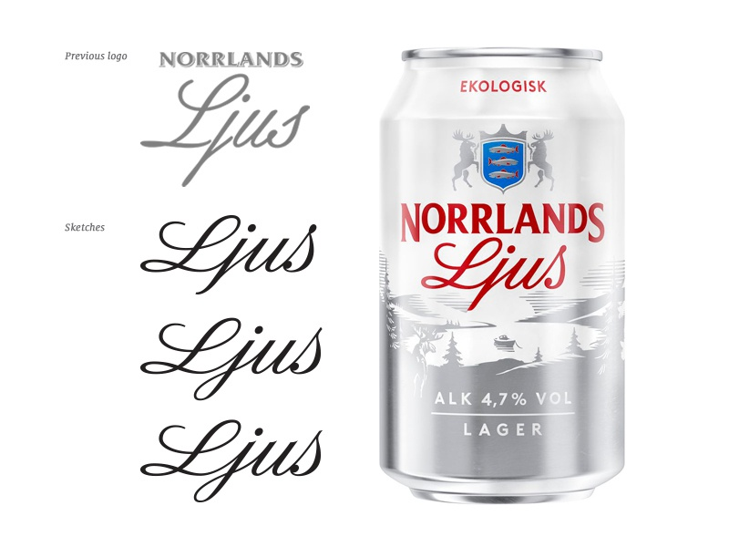 Norrlands Ljus signature beer hand crafted letters brand sketch custom type hand drawn script identity bespoke packaging branding calligraphy hand lettering logotype lettering type typography logo