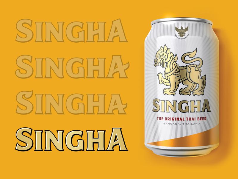 Singha Beer label vector identity beer letters brand sketch custom type hand drawn bespoke packaging branding lettering hand lettering logotype typography type logo
