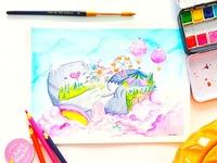 """Fantasy scene """"Cat Island"""" watercolor"""