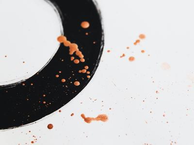 Ring art texture brush splatter copper ink painting